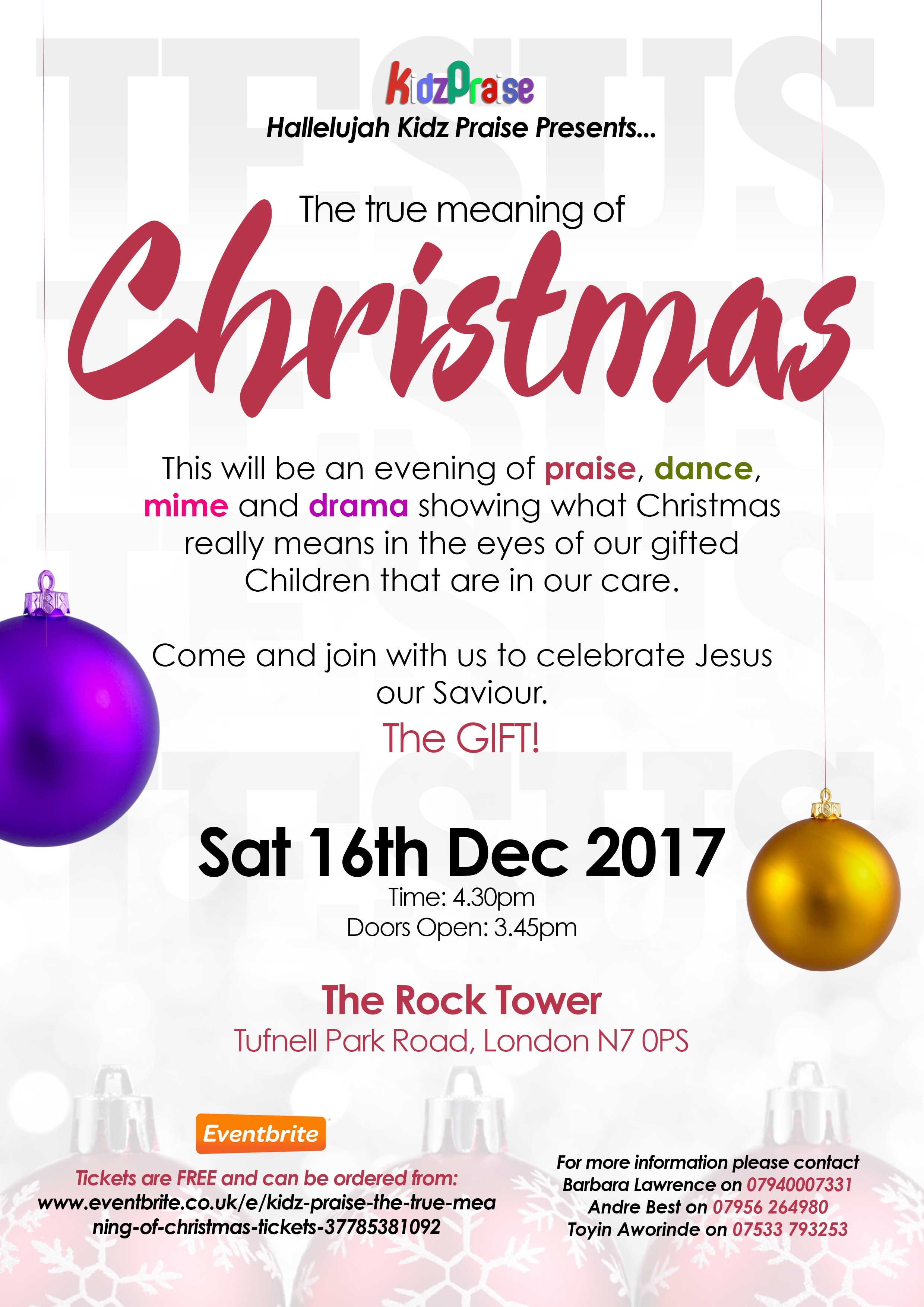 event details - Christmas Praise Dance